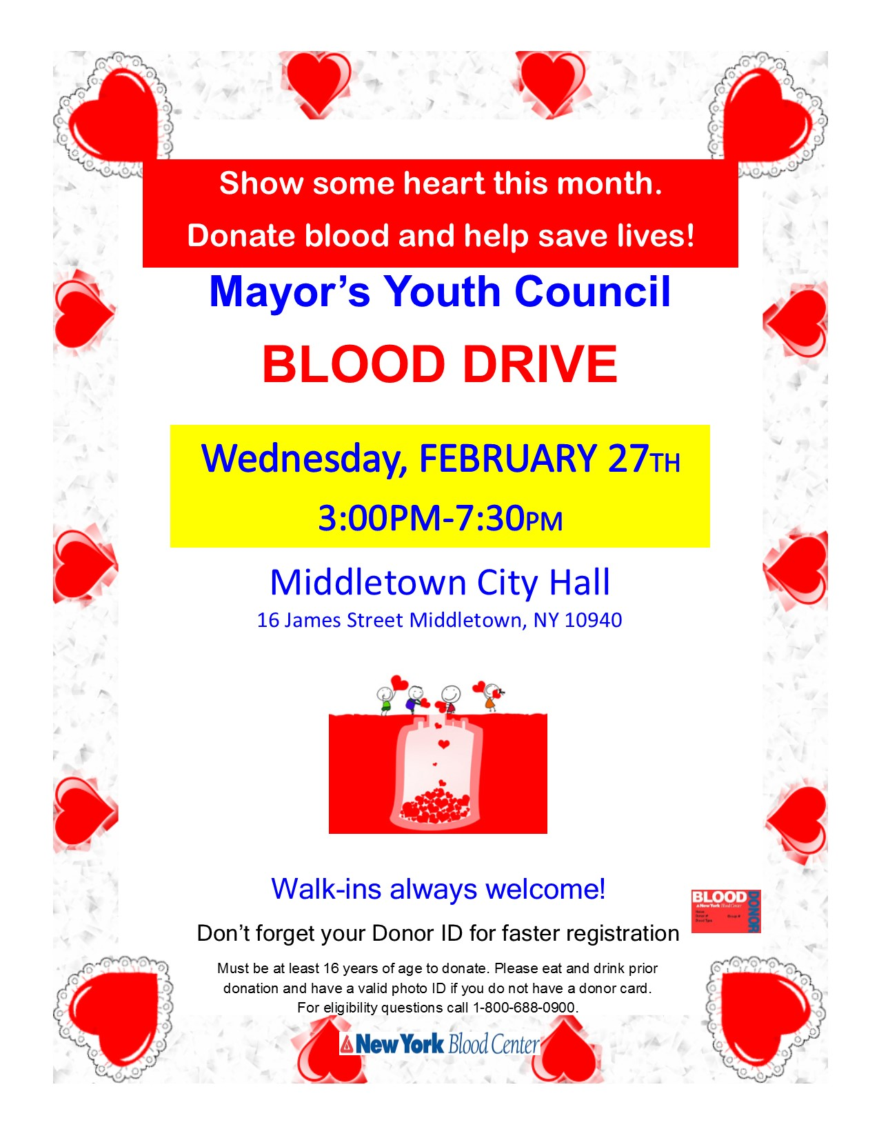 Mayors Youth Council Valentines Blood Drive Flyer